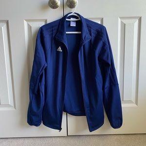 Navy blue Adidas jacket.